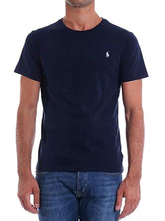 Ralph Lauren T-Shirt col Rond Noir irisé Logo Gris Slim fit pour Homme   Amazon.fr  Vêtements et accessoires 189d6e53ecf0