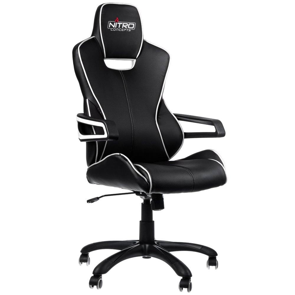 Nitro-Concepts nc-e200r-bc E200 124 Race Faux Leather Gaming Chair 54 x 50 cm, Black, 124x54x50 cm