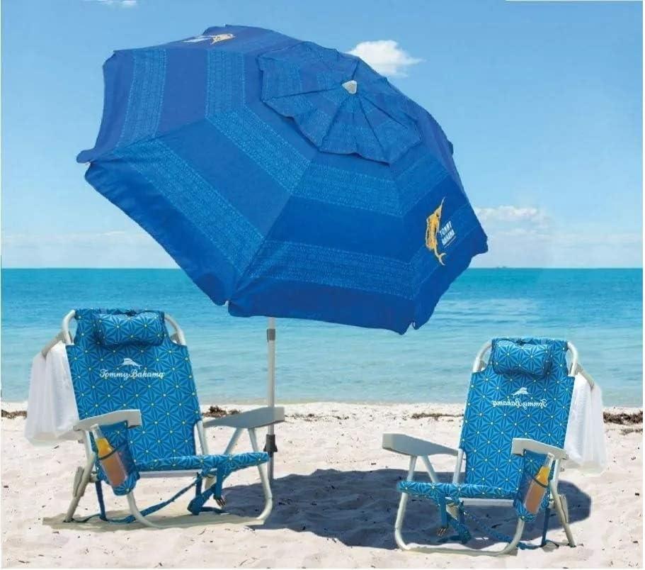 TECNOVOZ Pack 2 Sillas Portátil Y 1 Sombrilla De Playa Tommy Bahama Azul