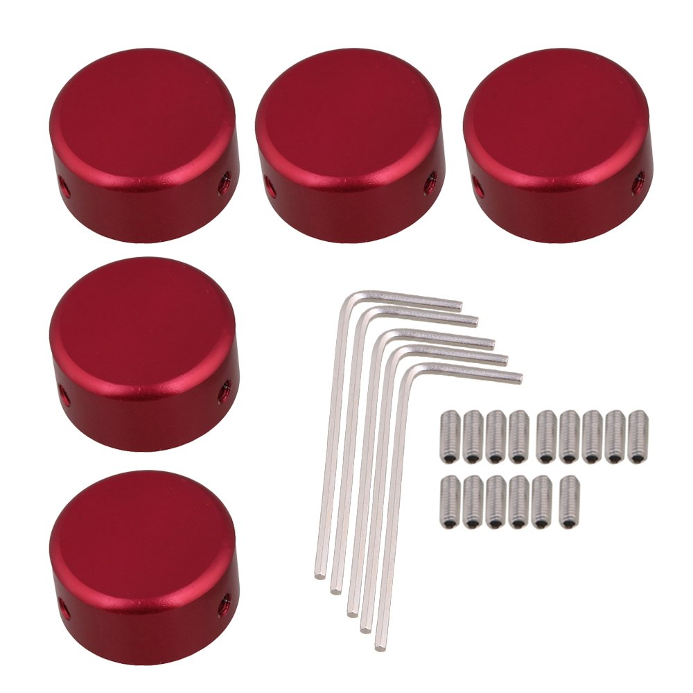 Yibuy Red Aluminum Alloy Guitar Effects Pedal Knobs with Screws Wrench Set of 5 etfshop M7170814019