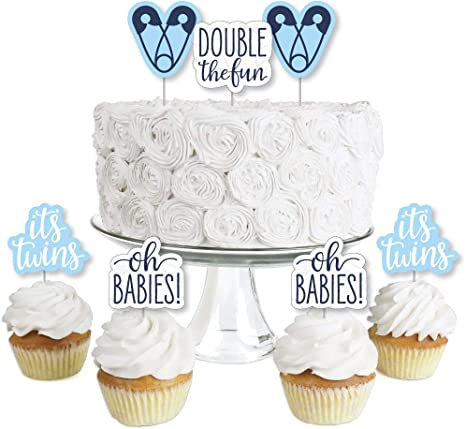 Amazon Com It S Twin Boys Dessert Cupcake Toppers Blue Twins Baby Shower Clear Treat Picks Set Of 24 Toys Games