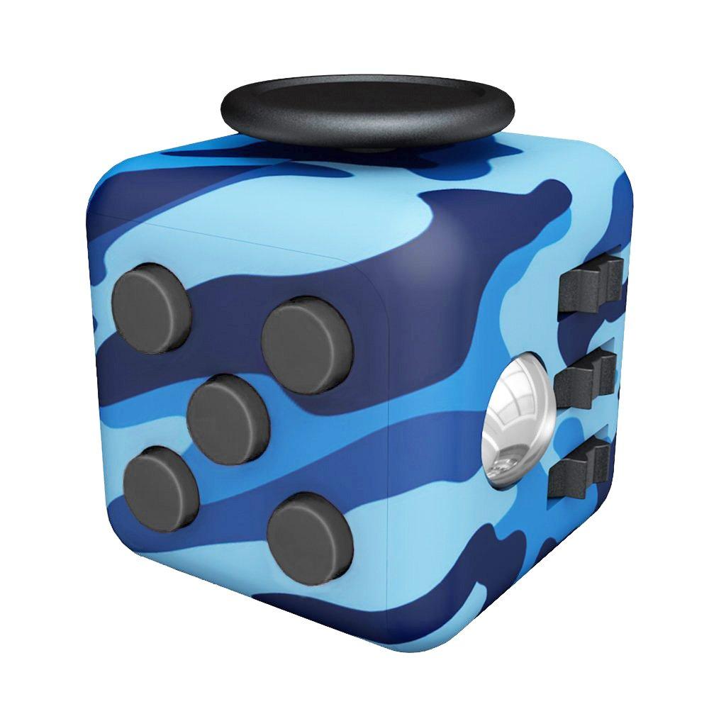 Amteker Fidget Cube Spielzeug Angst Aufmerksamkeit Stress Relief, und brechen nervöse Gewohnheiten und Angst Spielzeug Geschenke für Kinder und Erwachsene (Camo Blau)