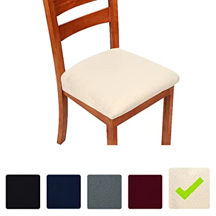 Stretch Chair Seat Covers For Dining Room Beige Set Of 4 Jacquard Cushion Protectors Slipcovers Amazoncouk Kitchen Home