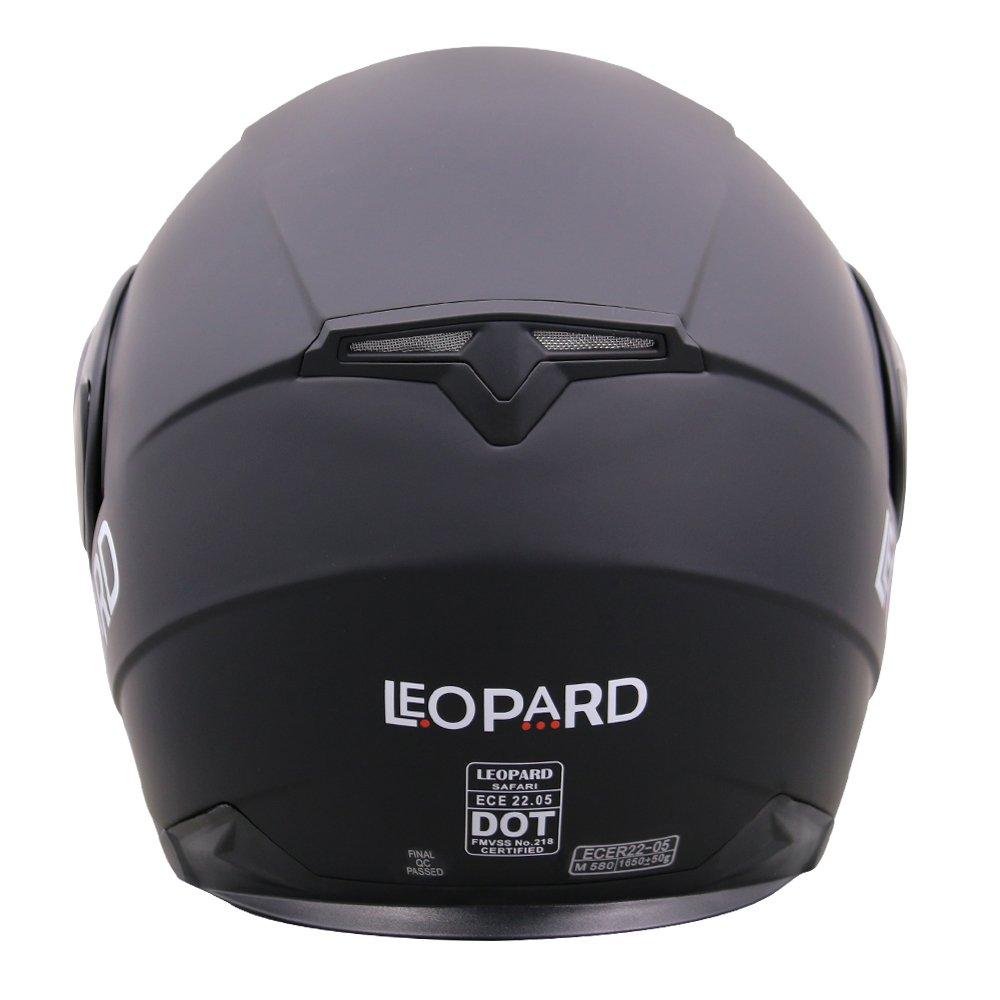Leopard LEO-838 Casque Moto Modulable Pare Soleil Interne pour Scooter Chopper Casque de Moto Double Visi/ère Homme et Femme ECE Homologu/é #3 Blanc XL 61-62cm