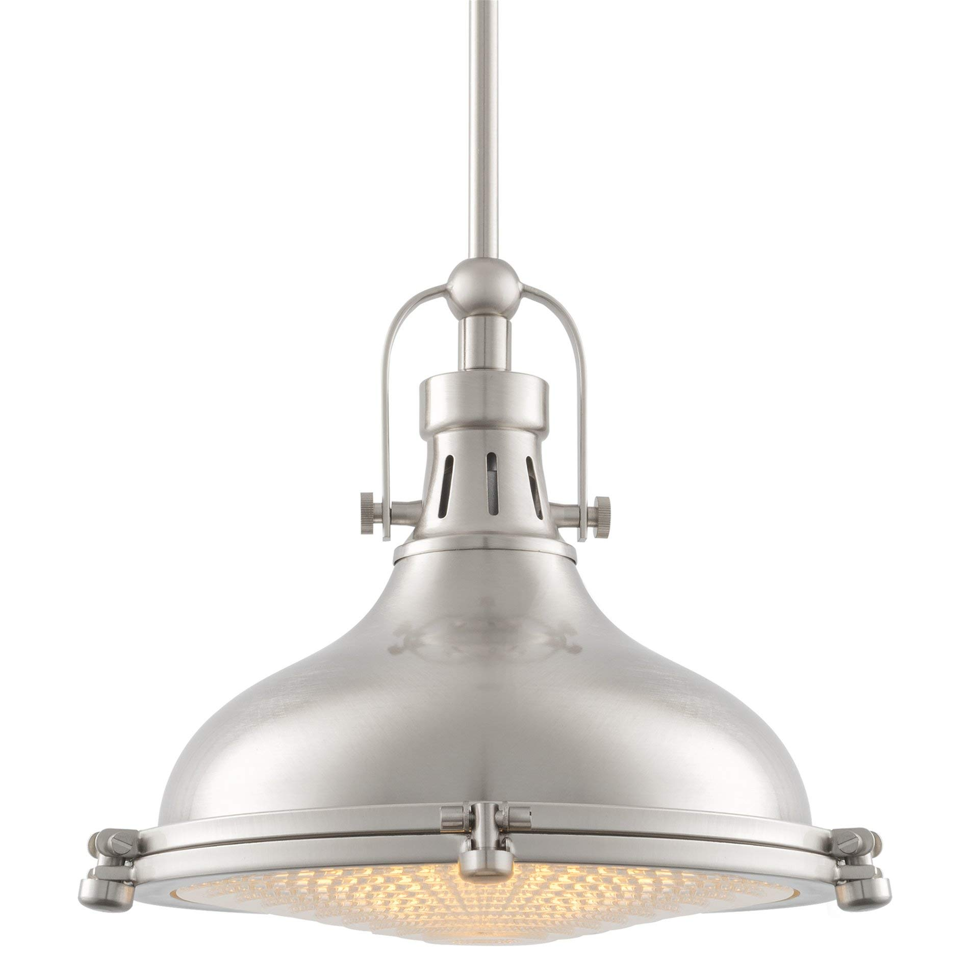 Kira Home Beacon 11'' Industrial Farmhouse Pendant Light with Round Fresnel Glass Lens, Adjustable Hanging Height, Brushed Nickel Finish