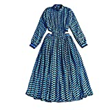 Dress Sexy Dew Waist Fresh Printed Small Collar Pleated Dresses,Blue,M