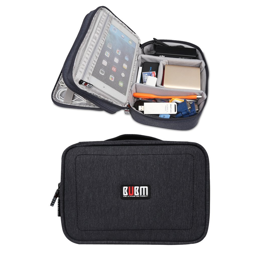 BUBM Large Travel Gadget Organizer Electronics Accessories Office Cable Sleeve Cord Organizer Storage Bag (Black)
