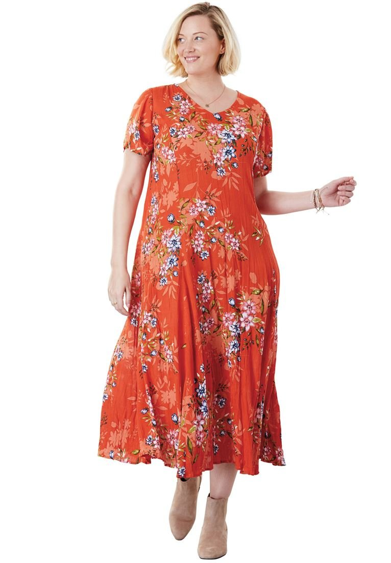 Women's Plus Size Crinkle Dress Sahara Orange Bouquet,2X