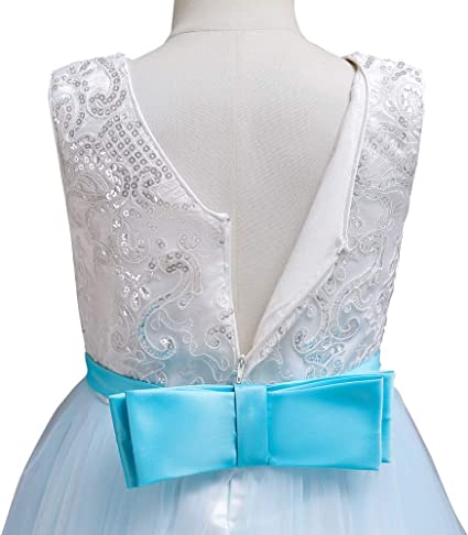 AliceHouse Girls Long Embroidered Flower Wedding Party Bridesmaid Princess Gown Dress GD35