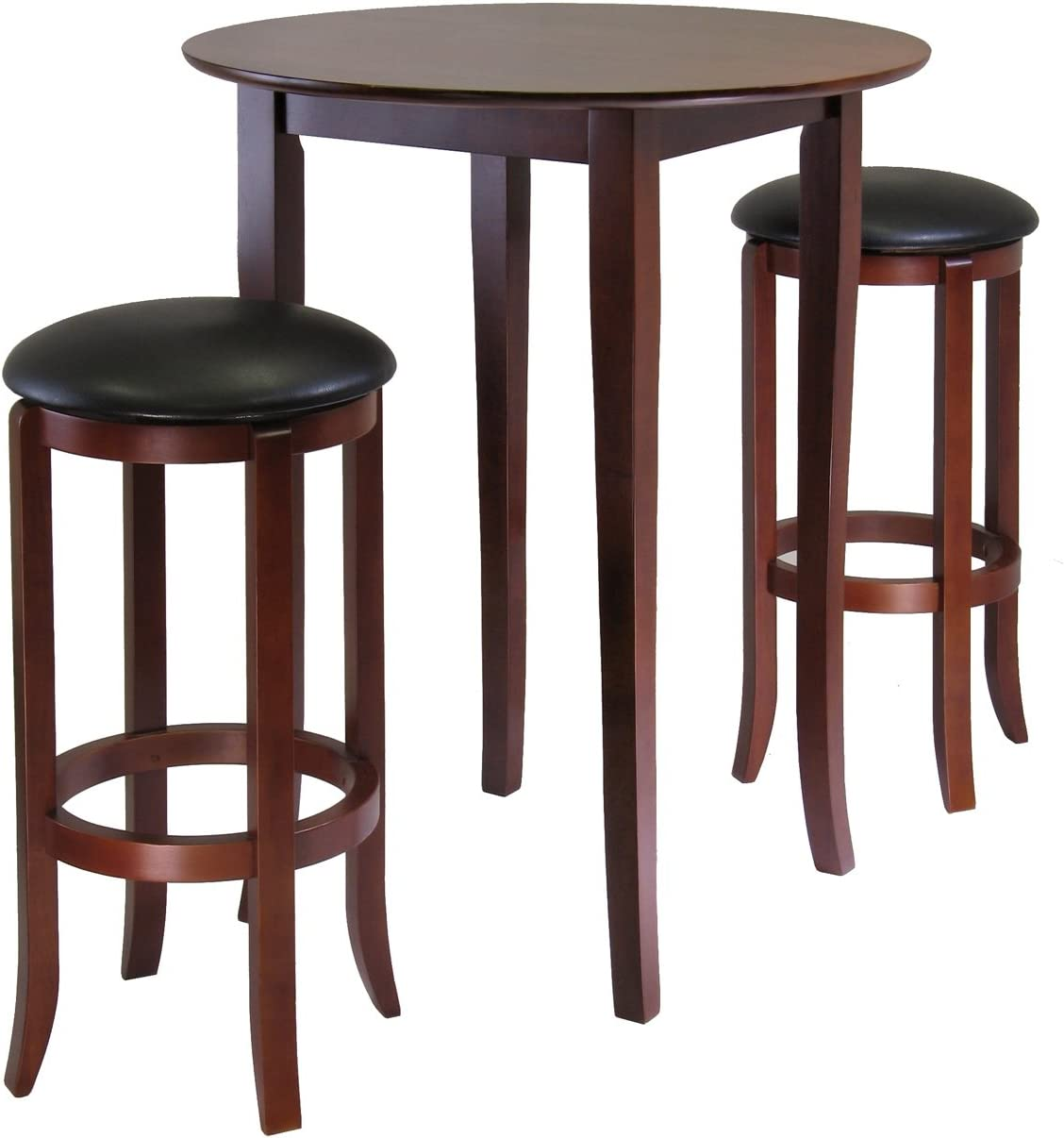 Winsome Fiona 3-Piece Round High Pub Table Set in Antique Walnut Finish