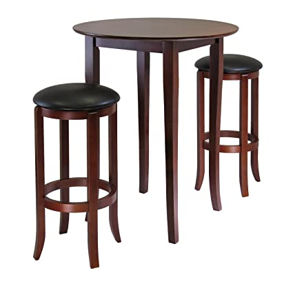 amazon com winsome fiona 3 piece round high pub table set in