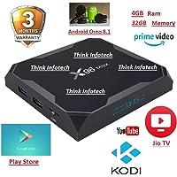 X96 MAX Android 8.1, 4GB 32GB Android TV Box Supports Prime Video,JIO TV & HotStar Apps, Amlogic S905X2 UHD 4K 1080P USB 3.0 Smart TV Box Set Top Box TX3 Mini X96 Mini MXQ Pro
