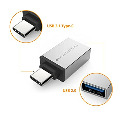 Everycom USB-C to USB 3 0 OTG Adapter for Xiaomi Mi A1 | Xiaomi Mi Mix 2 |  Google Pixel | Google Pixel 2 - Silver