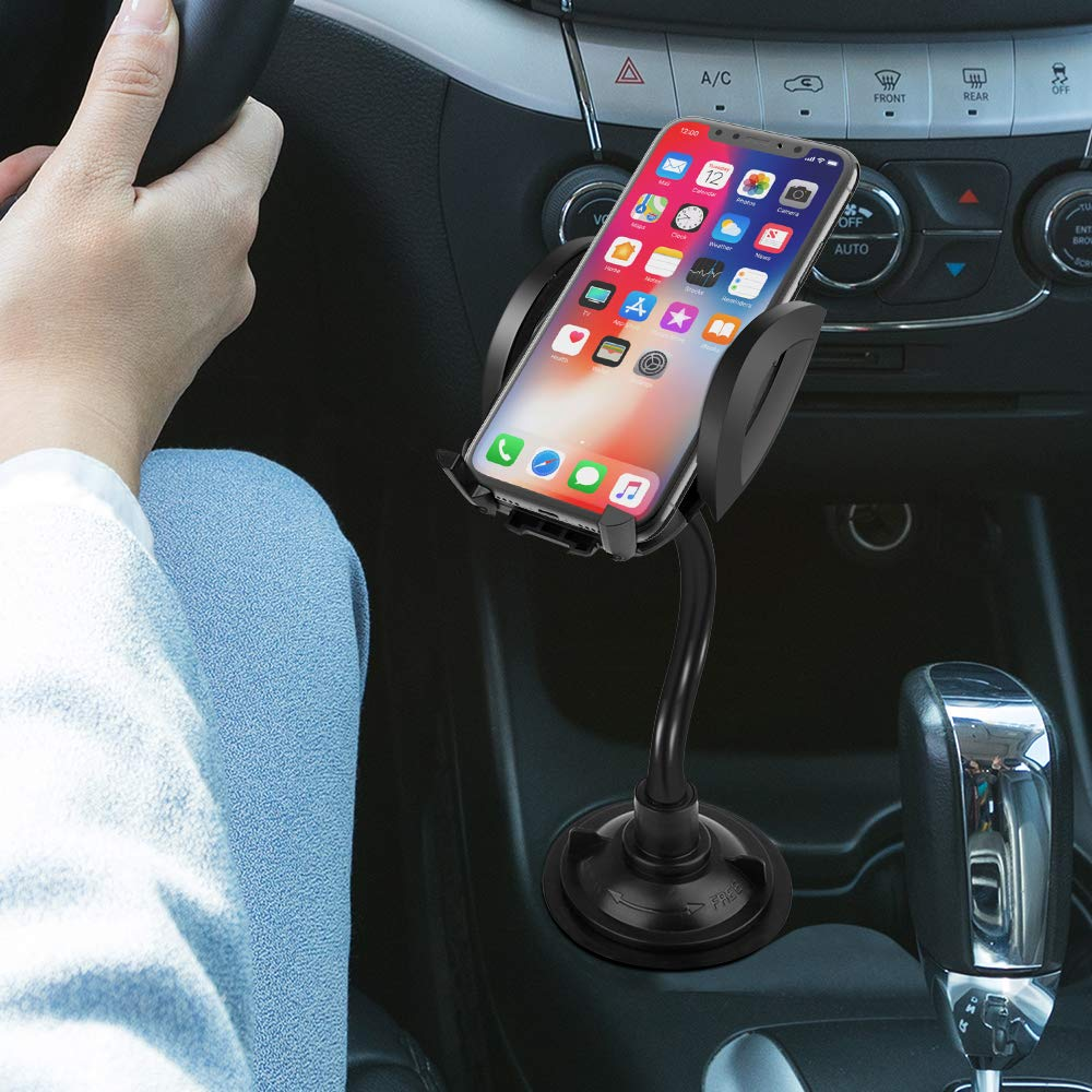 Phone Cup Holder for Car Goutoday Universal 360 Degree Rotating Mobile Phone Cup Flexible Holder Mount for Car Adjustable Long Arm Neck Cradle Hands Free Compatible with iPhone X 8 Plus