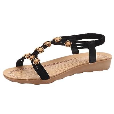 Alonea Ladies Women Flat Shoes Bead Bohemia Leisure Lady Sandals Peep-Toe Outdoor Shoes