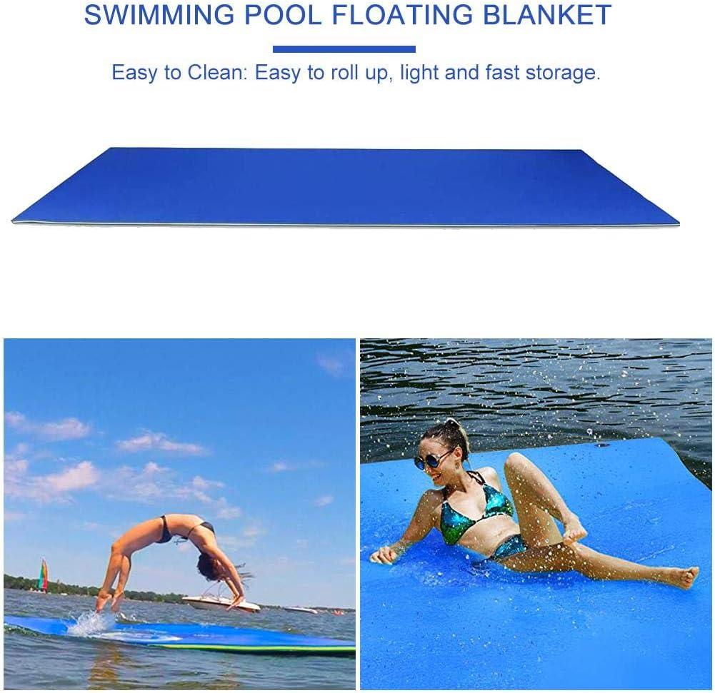Almohadilla de agua flotante-Alfombrilla de agua , Isla flotante antidesgarro hinchable de 3 capas de espuma flotante XPE para piscina, río, playa, océano, recreación y relajación