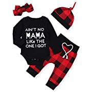 Newborn Baby Boy Girl Clothes Long Sleeve Romper Top,Plaid Pants+Cute Hat 4Pcs Clothes Outfits Set(0-3 Months)