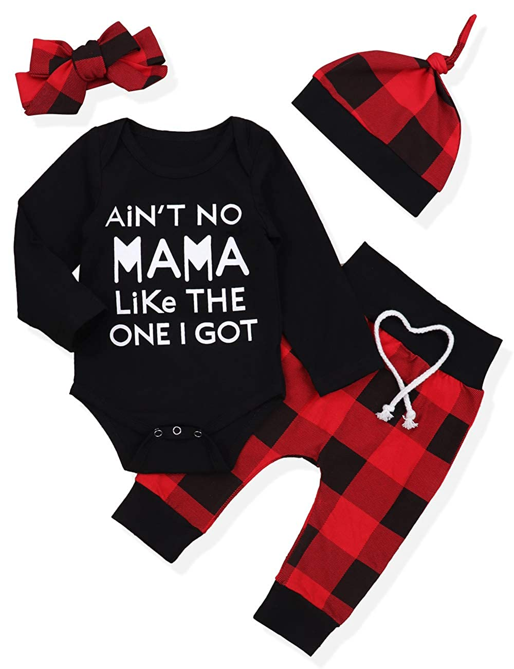 92474866b Amazon.com: Newborn Infant Baby Boy Girl Clothes Long Sleeve Romper Top,  Plaid Pants+ Cute Hat 4Pcs Clothes Outfits Set: Clothing
