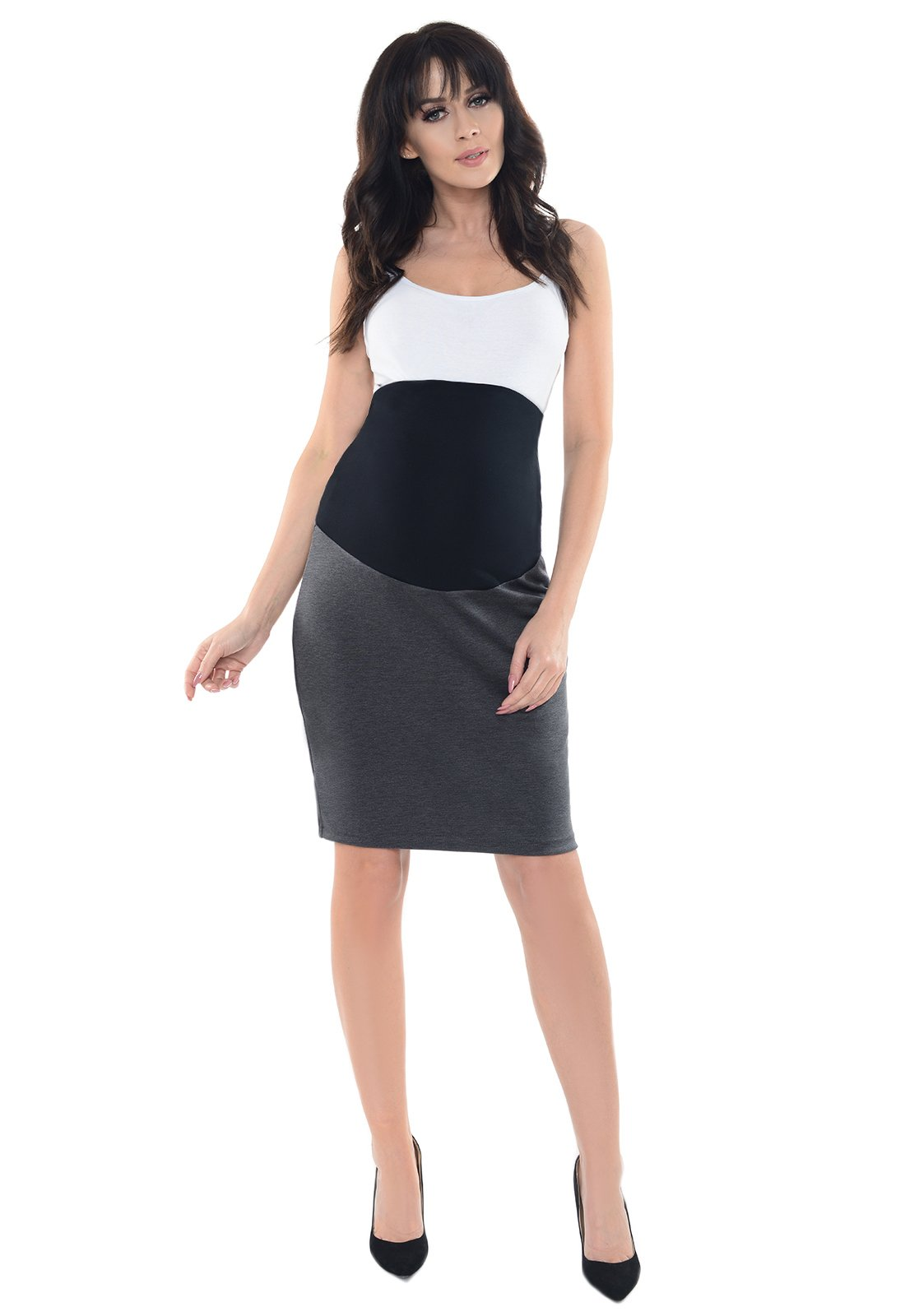 Purpless Maternity Pregnancy Formal Pencil Skirt 1504 (10, Dark Gray)