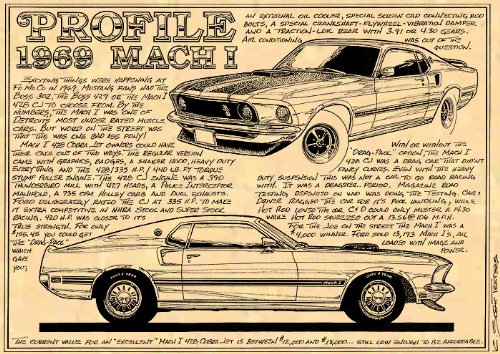 K. Scott Teeters - Illustrated Corvette Series 1969 Ford Mach I Mustang Muscle Car Poster Art Print