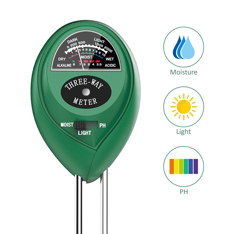 Soil PH Meter, Dr.meter 3-in-1 Soil Moisture/Light/pH Tester Gardening Tool Tester Kits for Garden Farm Lawn Planter, Indoor Outdoor Use(No Battery Needed)