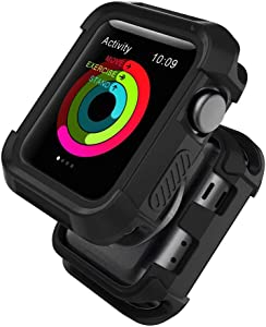 Compatible with Watch Case 42mm, Shock Proof Bumper Cover Scratch Resistant Protective Rugged Case Replacement for Series 3/2/1 42mm, Nike+, Black