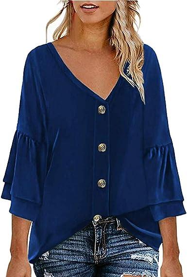 LuckyGirls • • Camisetas para Mujer, Blusas para Mujer Verano Moda Cuello en V botón Camiseta de Mujer Manga Corta Playa Elegante Tops Camisas de Mujer: Amazon.es: Ropa y accesorios