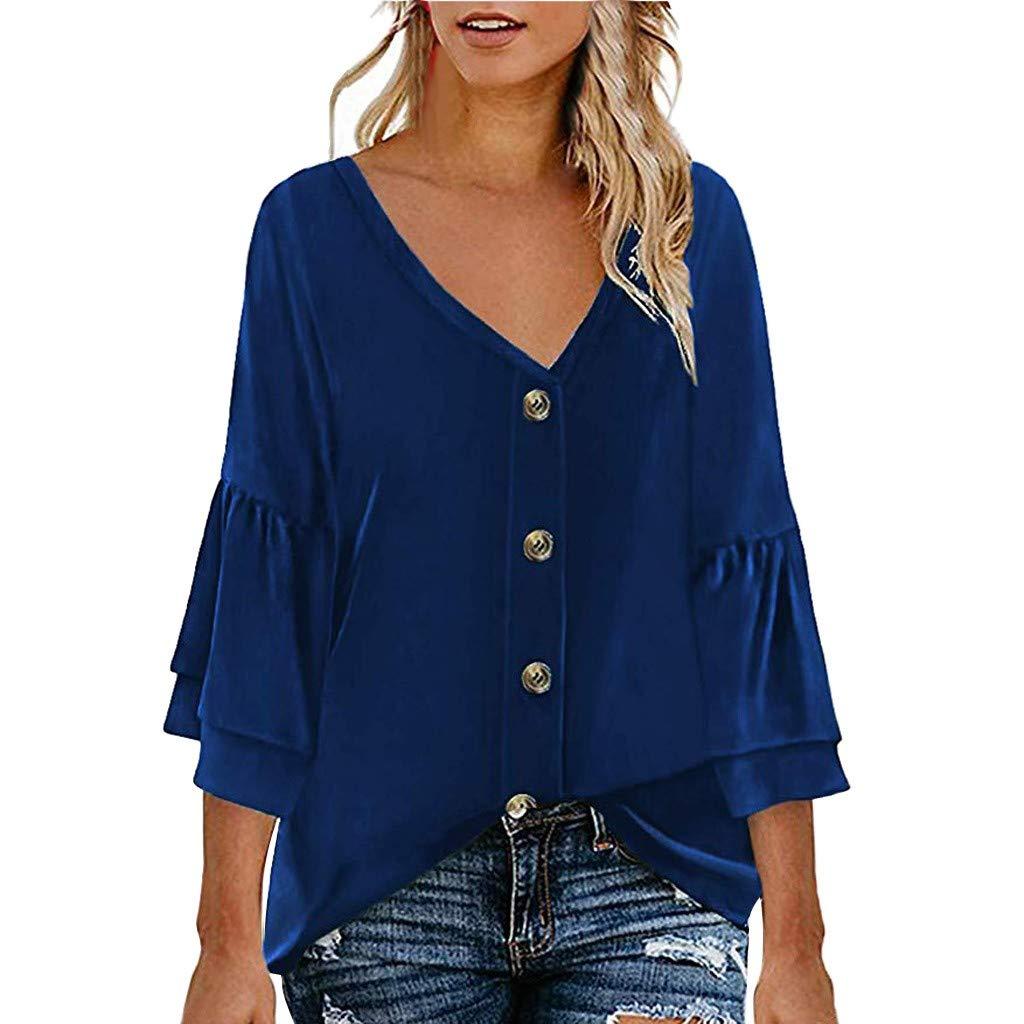 LIM&Shop  Women Summer Tunic Top Button Up Casual T-Shirt Short Sleeves Crew Neck Flowy Shirt Plus Size Blouses V-Neck Blue by LIM&SHOP-Women Tops