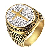 ZNKVJ Men's Domineering Templars Angel Crusader Diamond Titanium Steel Rings,Size 10