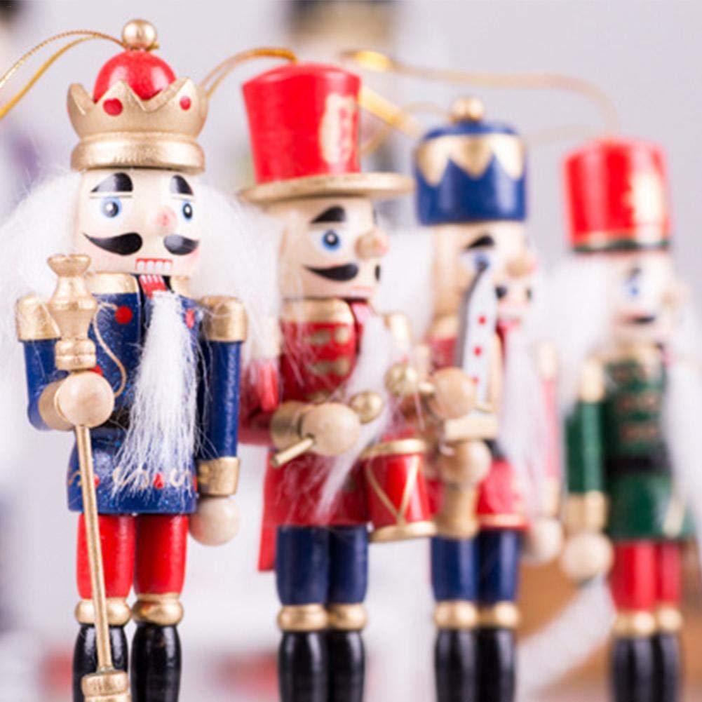 Chen0-super 4 Stück Weihnachts-Soldat Nussknacker Holzpuppe 12 cm ...