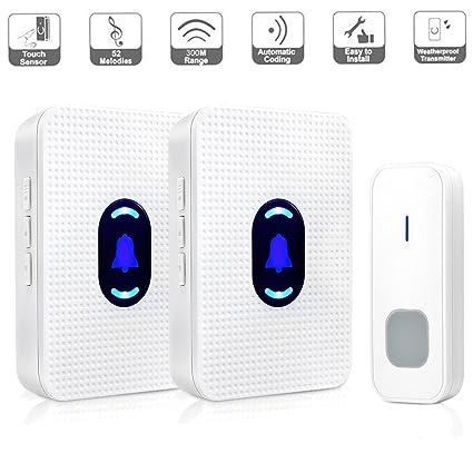 Delightful Wireless Doorbell 2 Receivers, BOSCHENG Waterproof Wireless Doorbell 1  Transmitter And 2 Receivers Operating At