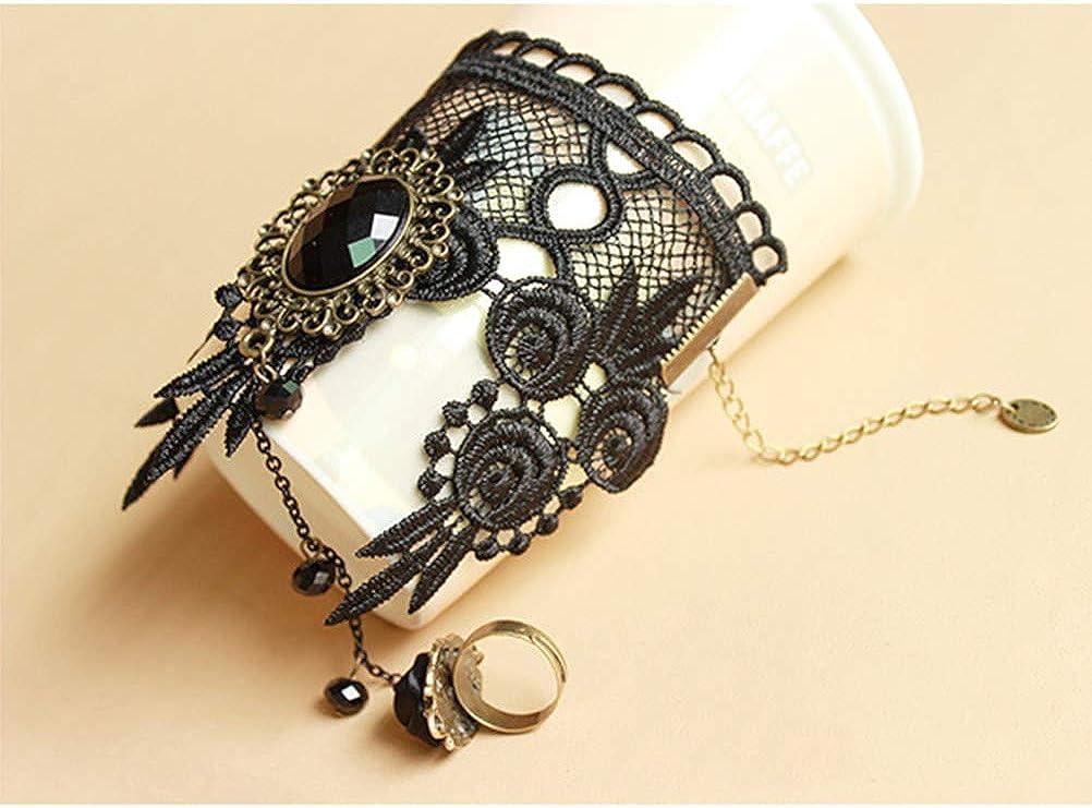 TENDYCOCO Bracelet de Poignet en Dentelle r/étro Vintage Vampire Lady Filles Rose Fleur Bracelet de Poignet en cha/îne avec Bague Noir