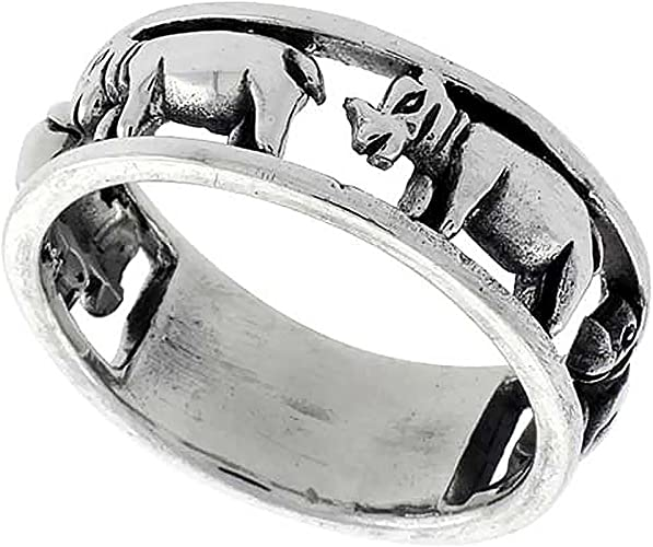 HIPPOPOTAMUS HIPPO 14K YELLOW GOLD CROWN STERLING SILVER ADJUSTABLE RING SIZE