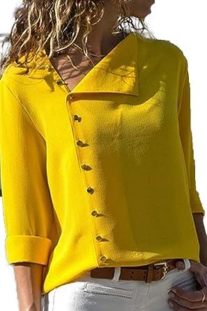 Blusa de Gasa Mujer Camiseta de Mangas Largas del Dobladillo Irregular Asimétrica Camisa con Botones Sudadera Otoño Invierno Anchos Cómodo Top Cuello en V Basic T Shirt Pullover Tunica Talla Grande: Amazon.es:
