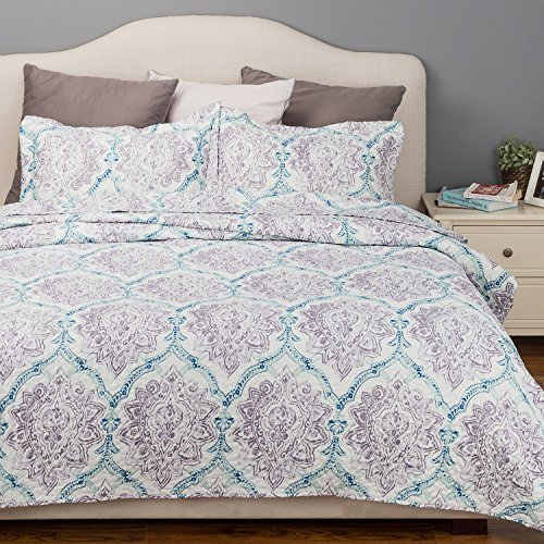 Flower Quilt Paisley Purple Taupe&Indigo Coverlet Full/Queen Size (90