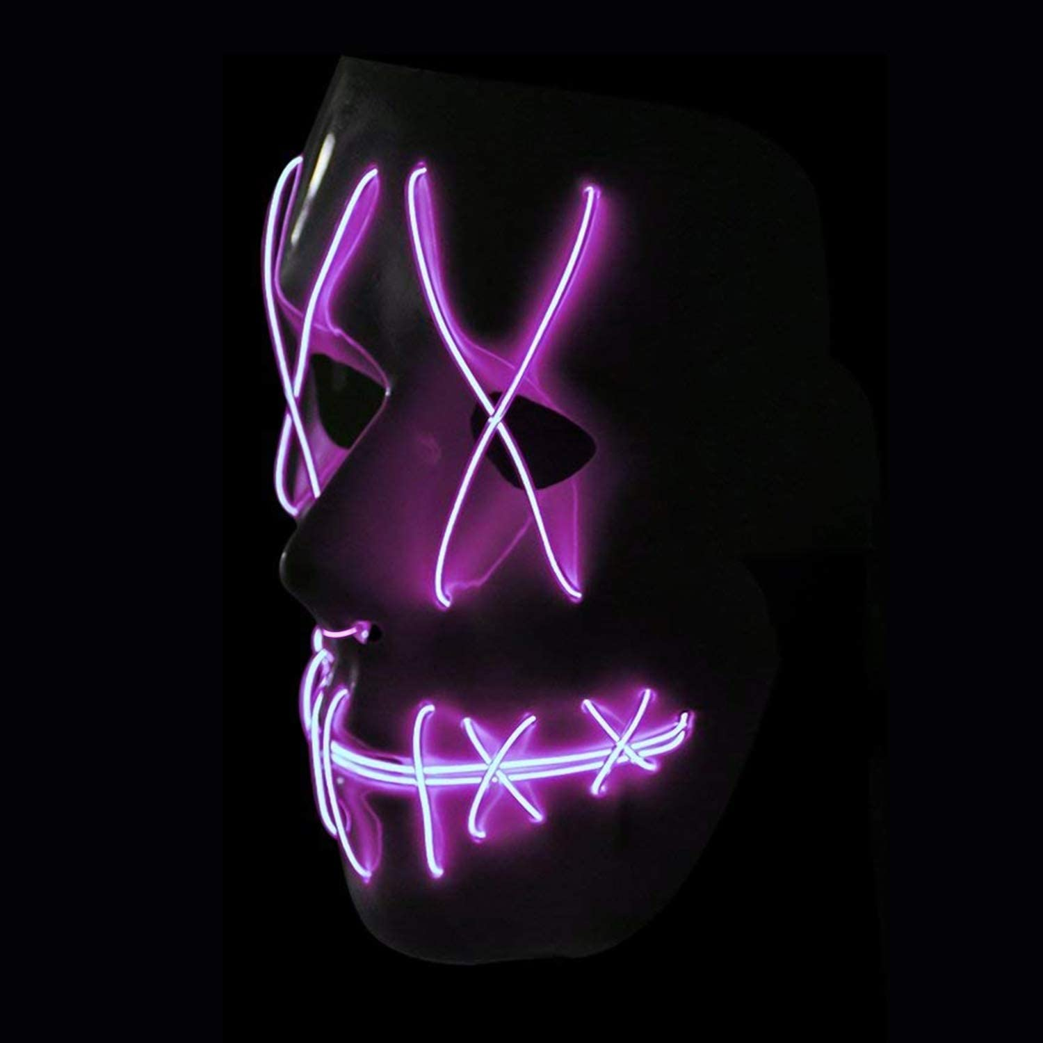 Halloween LED Mask Scary Mask Glowing Mask El Wire Light Up Mask for Halloween Costum Festival Rave Party