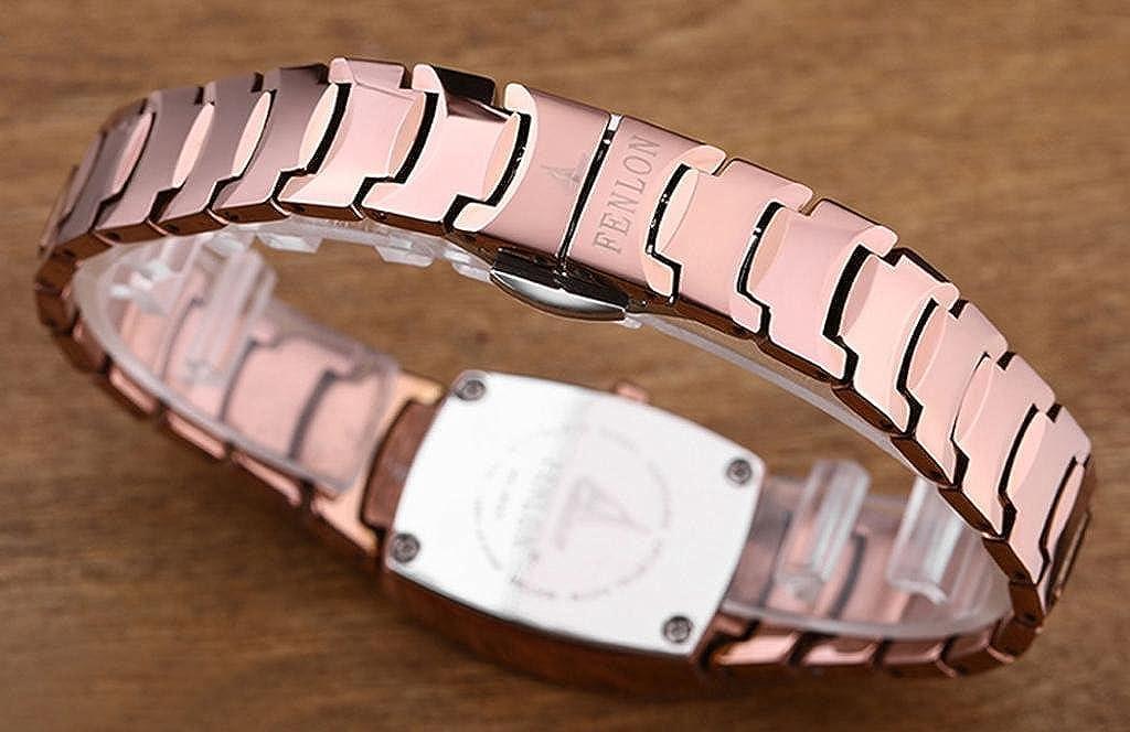 Fenlon mujeres de oro rosa tungsteno acero pantalla analógico de cuarzo relojes: Amazon.es: Relojes