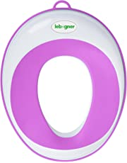 Kids Toilet Training Seat By Lebogner - Purple Potty Trainer For Boys And Girls, Toddler Toilet Topper Ring, Fits Elongated And Round Bowls, Secure Non-Slip Surface, Suction Cup, Storage Hook Included