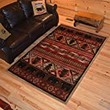 Rustic Lodge Bear Pine Tree 5x8 Red Area Rug, 5'3