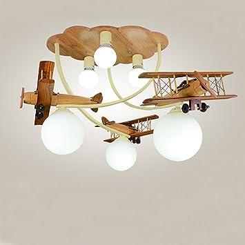 XUANLAN avión Ligero de Madera del Techo, lámpara del ...