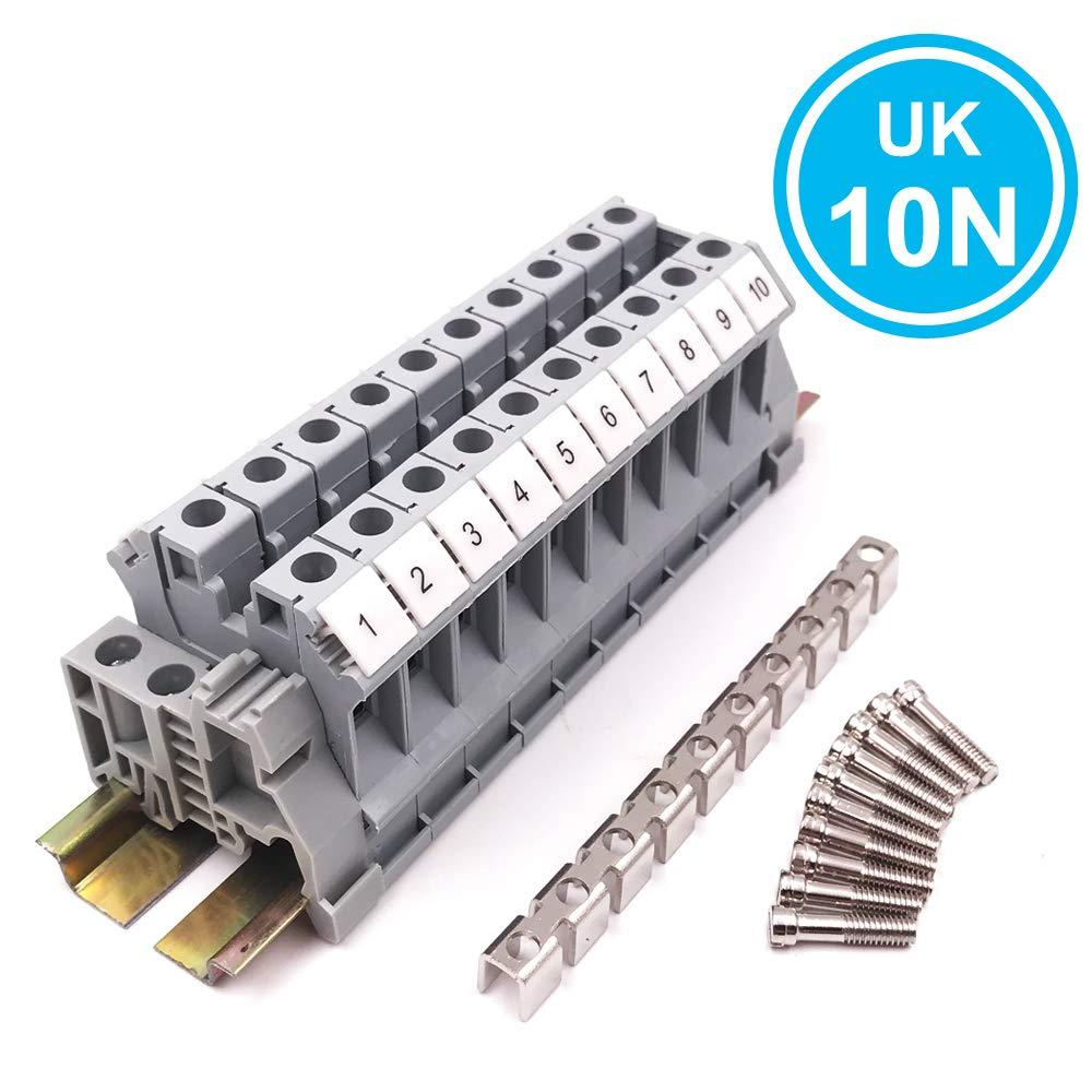 Erayco UK10N 10 Gang DIN Rail Terminal Blocks Assembly Kit with Fixed Bridge Jumpers, 10 mm², Screw Clamp, 20-6 AWG, 65 Amp, 600 Volt by Erayco