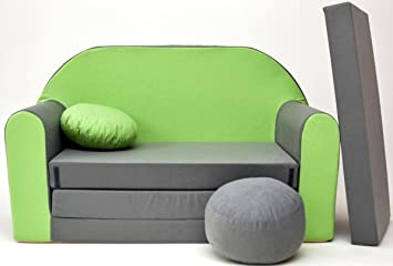 Sofa Samt Grün moleo sofa kindersessel ausziehbett samt grün grau a1 98 x 48 x