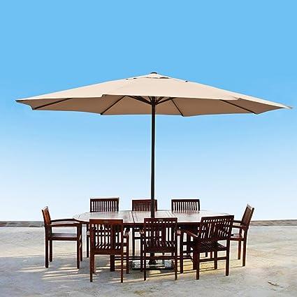 13 Foot Market Patio Umbrella Outdoor Furniture Aluminum Beige