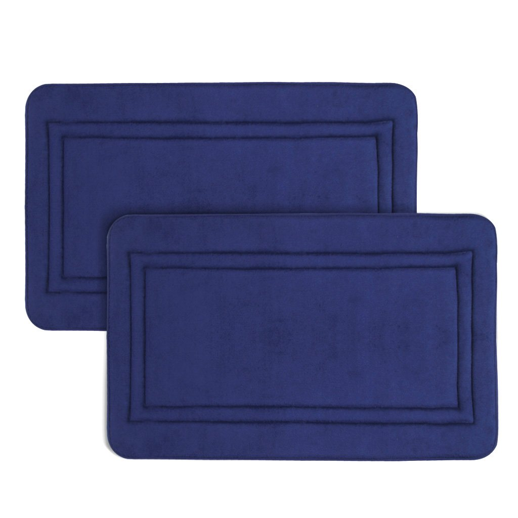 LANGRIA 20'' x 32'' Soft Bathroom Mats Non-Slip Bathroom Rugs Memory Foam Water Absorbent Fast Dry Soft Comfortable Stylish Coral Fleece Surface,(Navy, 2 Piece)