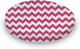 product image for SheetWorld Fitted Oval (Stokke Mini) - Hot Pink Chevron Zigzag - Made In USA