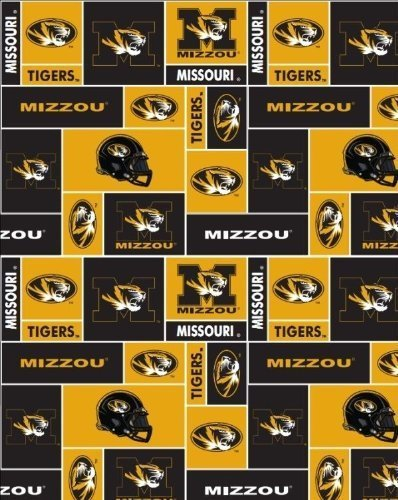 College University of Missouri Mizzo Tigers Print Fleece Fabric By the Yard (Tigers Fleece Fabric)