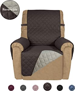 PureFit Reversible Quilted Recliner Sofa Cover, Water Resistant Slipcover Furniture Protector, Washable Couch Cover with Elastic Straps for Kids, Dogs, Pets (Recliner, Chocolate/Beige)