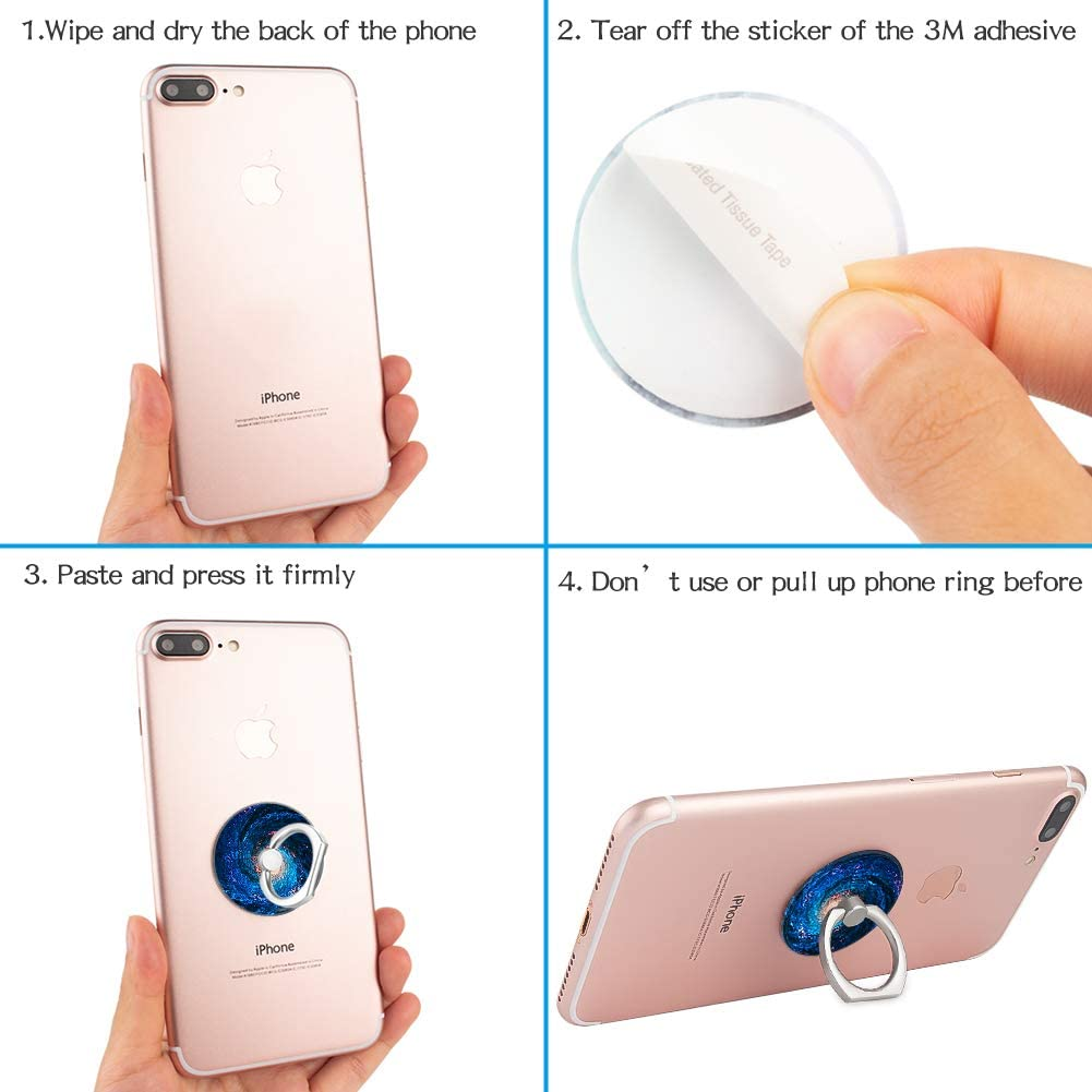 Pink Marble 4-Pack Phone Ring Holder 360 Rotation Finger Stand Grip Kickstand for Smartphones and Tablets