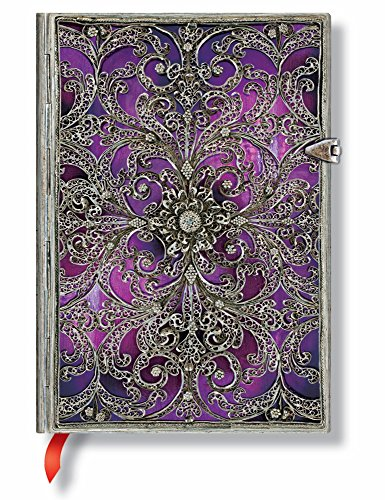 Aubergine Midi Lined Notebook (Silver Filigree Collection)