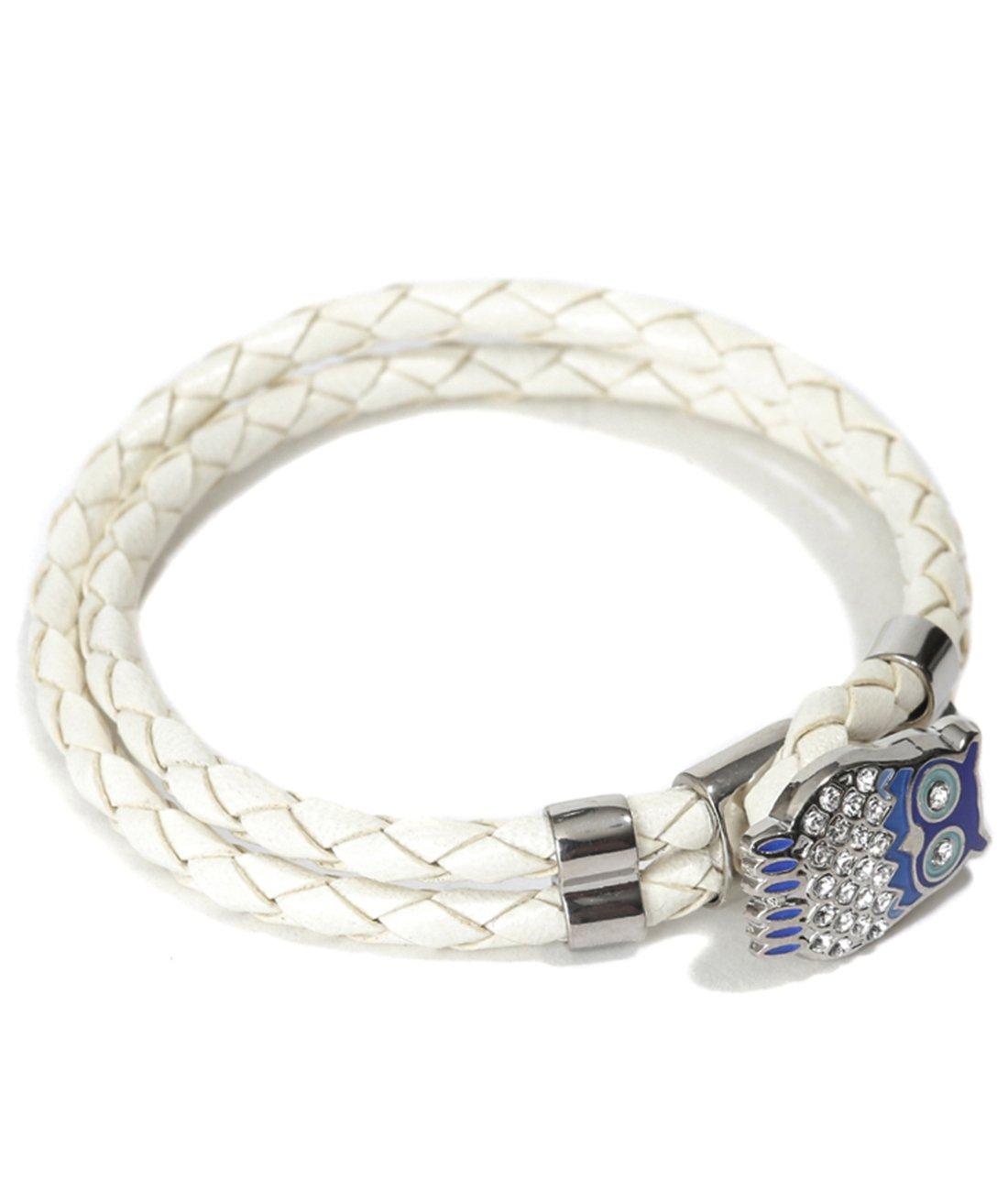 Mon Art Women's Braided Bracelet with Embellished Blue Owl Toggle L Ivory